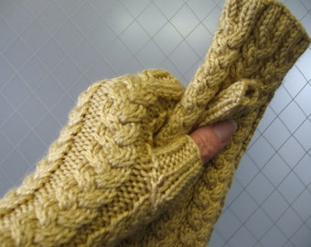 Wheat Yellow or Charcoal Gray Navy or Brown Texting Fingerless Gloves