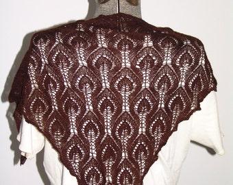 Dark Chocolate Brown Cashmere Lace Triangular Hand Knit Shawlette
