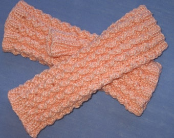 Texting Driving Peach Cotton Lacy Fingeless Hand Knit Gloves Handmade