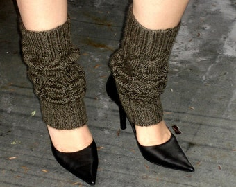 Olive Green  Hand Knit Leg Warmers