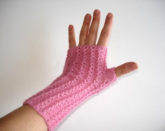 Spring Pink  Slipper Orchid Lace Hand Knit Fingerless Gloves