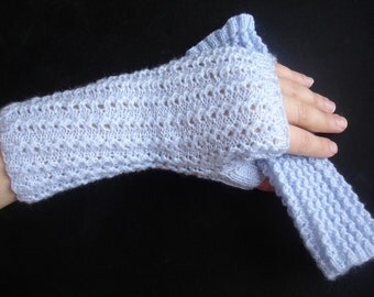 Lilac Powder Fingerless  Lacy Gloves Hand Knit