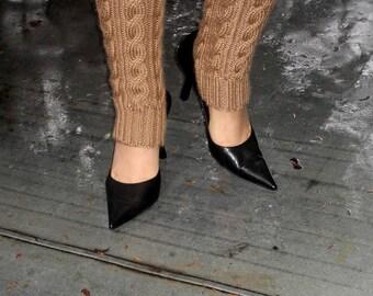 Sable Beige  Leg Warmers Hand Knit Separate Matching Fingerless Gloves