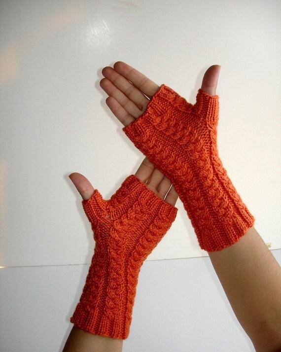 Bright Tangerine Orange Virgin Wool Hand Knit  Fingerless Gloves