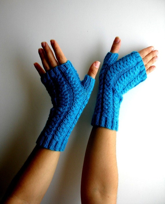 Fingerless Gloves Deep Turquoise Alpaca Hand Knit