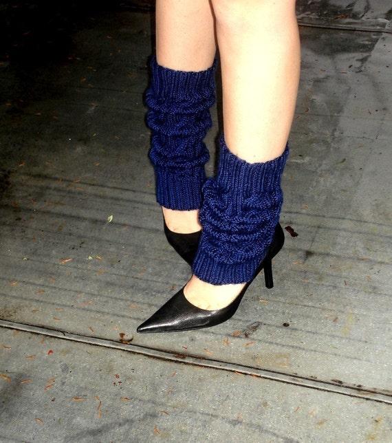 Navy Blue Leg Warmers Hand Knit