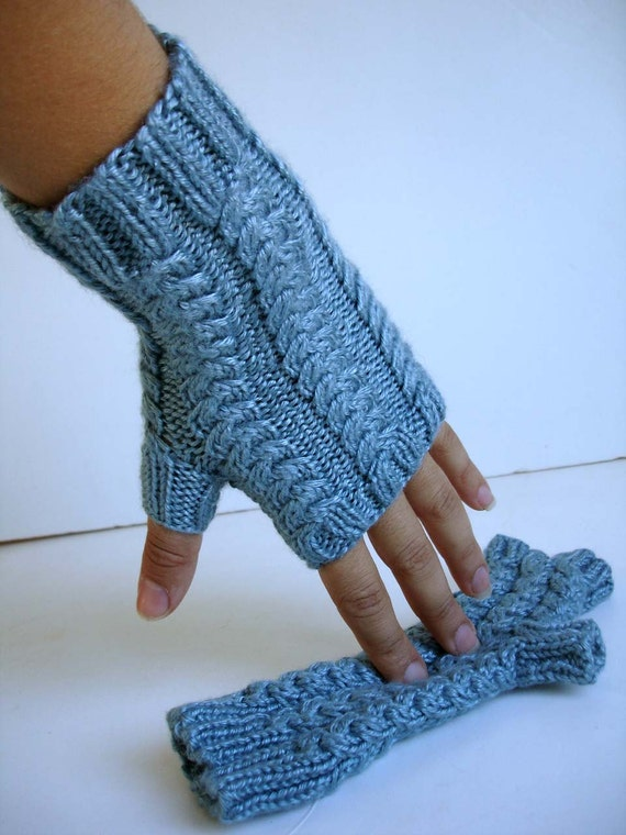 Aquamarine Topaz Blue Bamboo Silk Hand Knit Fingerless Gloves