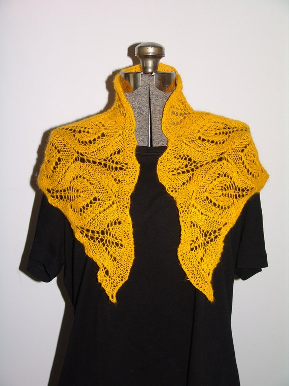 Gold Yellow Triangular Lace Shawlette Hand Knit