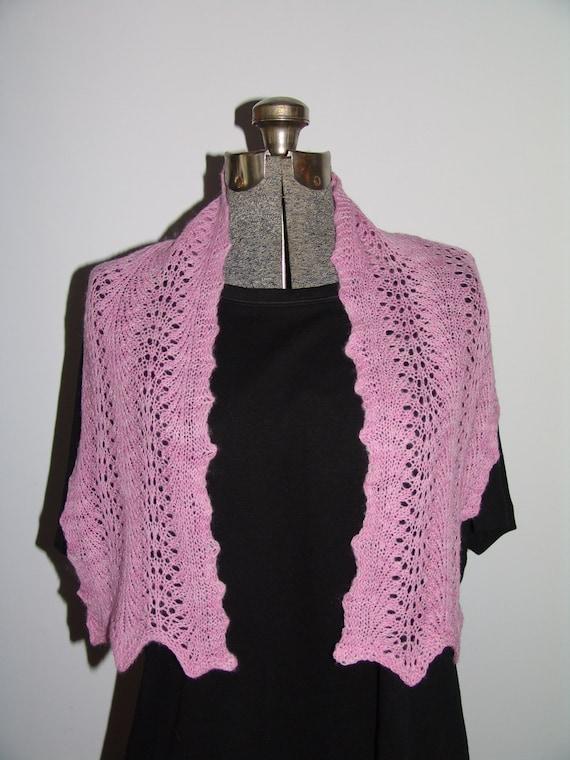 Knitting Pattern Feather And Fan Lace : Hyacinth Pink Feather and Fan Lace Hand Knit Scarf