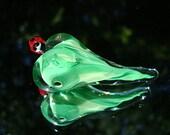 Handmade Glass Heart - I Love Ladybugs Focal Bead
