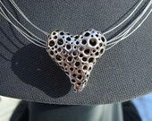 RESERVED LISTING Handmade Pure Silver Heart Pendant Necklace