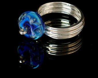 Handmade Solid Silver Ring With Beautiful Handmade Glass Bubble Bead Size 8.5