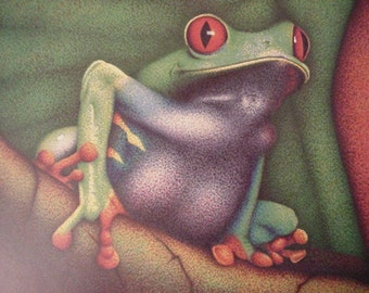 Feeling Froggy - Full Spectrum Pointillism Print by Beth Hanna