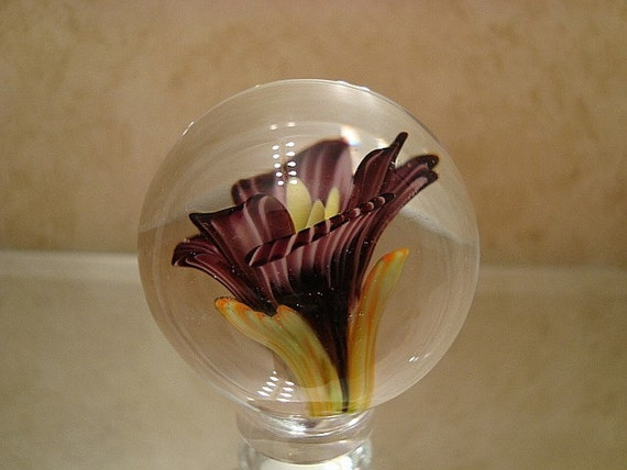 Beautiful Handmade Glass Lampwork Flower Implosion Marble from The Marble Garage