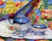 ACEO Limited Edition Print 8\/20 Still Life Blue Sky Tea Watercolor Painting by Lori Andrews Still Life