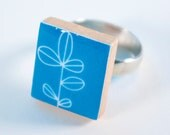 Ring - Mod Branch on Blue - Upcycled Scrabble Tile