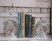Pair of Vintage Glass Horse Head Bookends