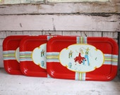Set of Three Vintage Tin Trays Depicting Mexican Dancers