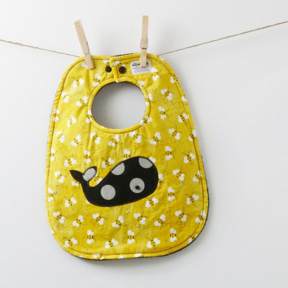 SALE - Unisex Baby Shower Gift - Buzzy Bees with a Whale Baby Bib