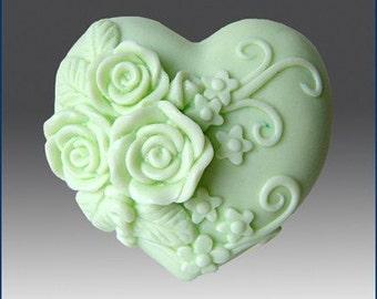 Triple Rose Heart Silicone soap mold