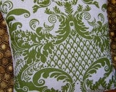 Classic - Green and Natural Damask Pillow Cover