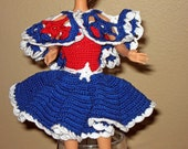 Two piece dress for Fashion doll or Barbie type doll, red, white, and Blue