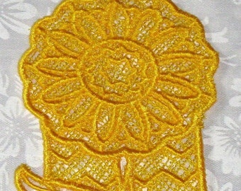 Lace machine embroidered Sunflower Bookmark, Deep Yellow