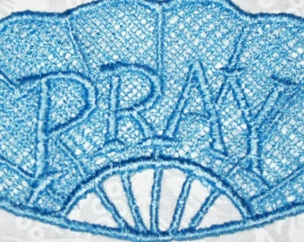 Lace machine embroidered Pray Bookmark, Pretty Light Blue