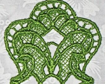 Beautiful Green Ribbon Blossom Bookmark, Lace, Machine Embroidery