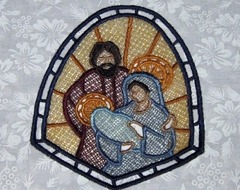 Embroidered Stand alone Lace, Christ is Born Ornament