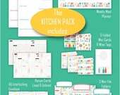 Kitchen Pack-EDITABLE Printables in Retro 'Kitschy Utensil' and 'Wine Bouquet'