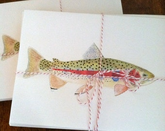 Brook and Rainbow Trout Combination Notecards--Set of Ten with Envelopes