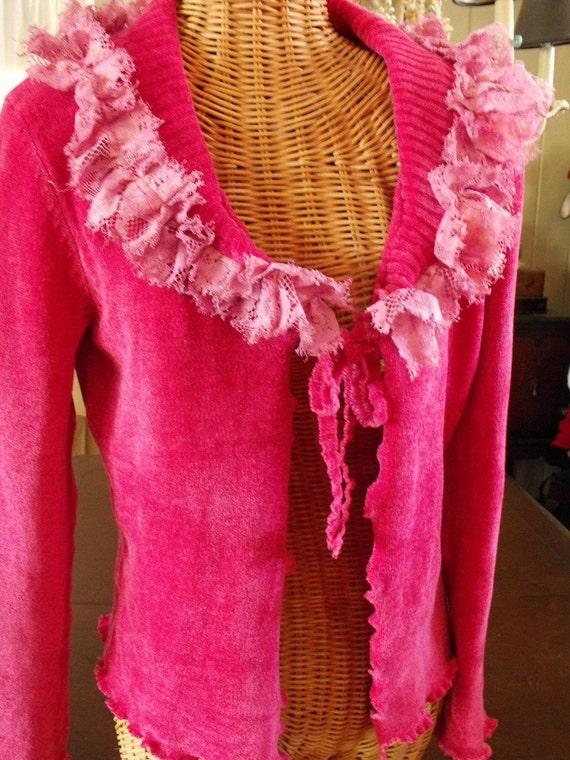 Hot Pink Raw Edge Lace Cardi