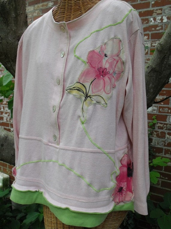 Pink Shirt with Appliqued Flowers