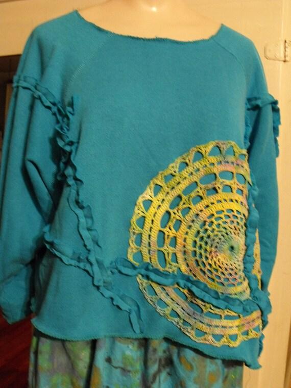 Plus Size upstyled Appliqued Crochet ruffle Sweatshirt