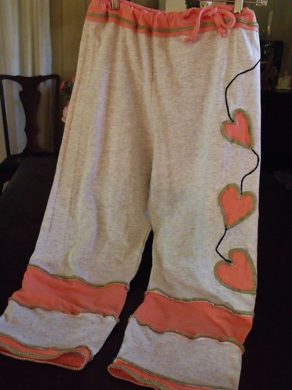 Plus Size Grey Knit Drawstring Pants With Pink and Green Hearts