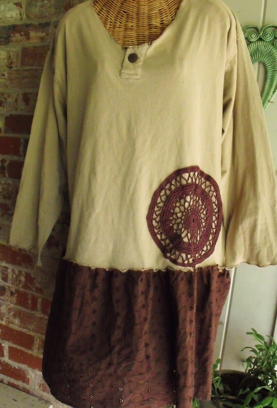 Plus Size Altered T Shirt and Eyelet with Vintage Crochet Accent