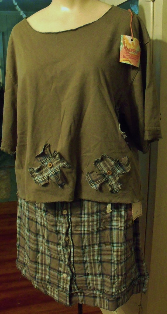 XL Man's Shirt Skirt and Refashioned Tee 2 Pc Set