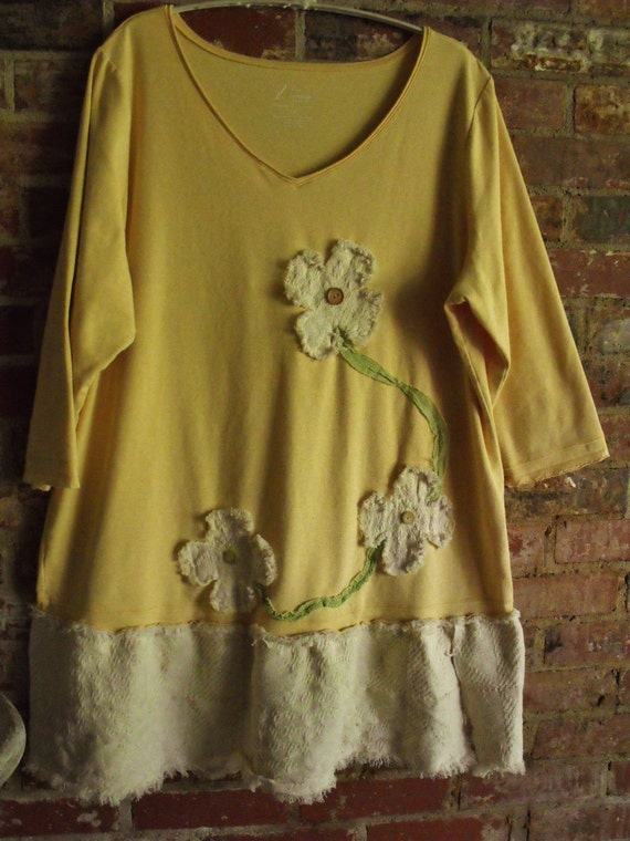 Plus Size Tunic,Dress, Creamy Yellow, Natural Fringey Bottom, Fringey Flowers