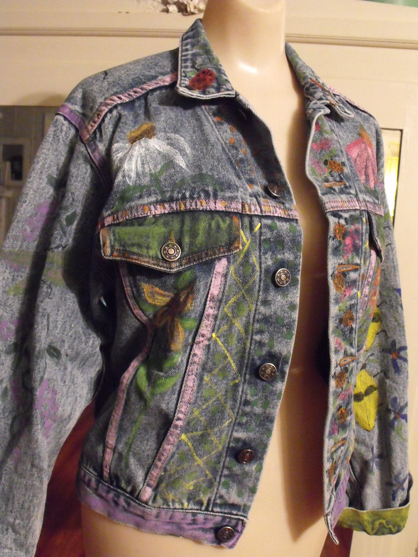 Decorated Denim Jacket By Sheerfab On Etsy