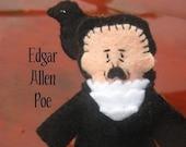 Edgar Allen Poe With Raven Felt Finger Puppet