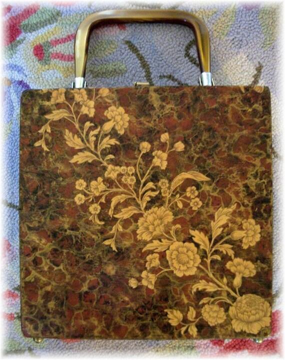 Tortoise and Golden Chrysanthemums Seventies Decopauge Box Purse
