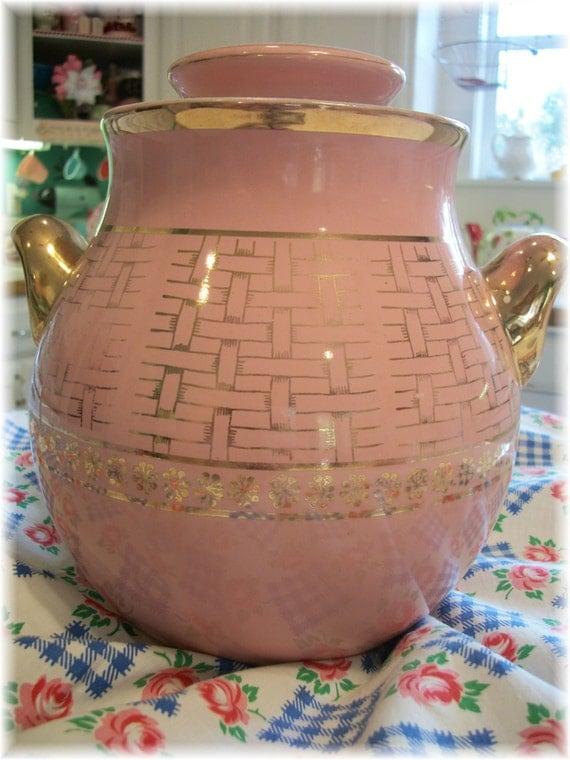 50s Cookie Jar Pink and by Gold Halls Superior Kitcheware