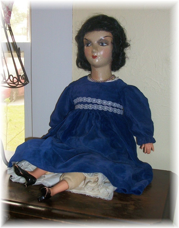 RESERVED for Holly 1920s to 1940s Boudoir Doll with Spooky Mysterious Eyes