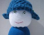 Sock buddy with button crochet helmet hat