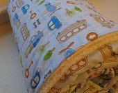 Hooded Towel with Buses, Cars and Planes