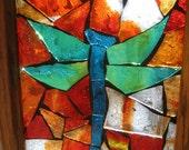 aqua and orange dragonfly mosaic window 11-45
