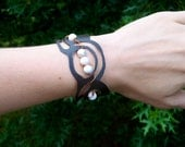 Adjustable copper, Howlite and upcycled plastic bracelet. Made to order