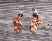 Hand forged Copper and aventurine dangling leaf earrings Made to order.