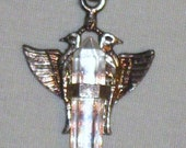 PIF Sterling Double Dove Crystal Pendant